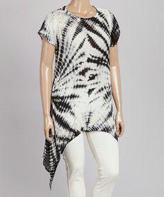 Look at this #zulilyfind! Black & White Tie-Dye Sidetail Tunic - Plus #zulilyfinds