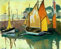 peinture : le Port de La Rochelle, bateaux à voile,  Albert Marquet - 1920
