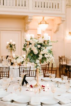 Flowers by Brian – Flowers for all occasions Stunning garden style gold candelabra with pillar candl White Rose Centerpieces, Candelabra Wedding Centerpieces, Candelabra Flowers, Gold Candelabra, Wedding Table Centerpieces, Flower Decorations, Wedding Decorations, Decor Wedding, Wedding Reception