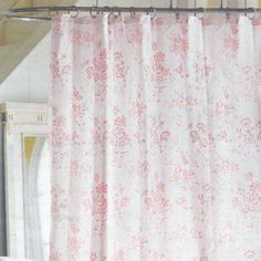 Pink Cabbage Rose Shower Curtain - There are lots of kinds of drapes to pick from. You'll be able to have ring-shaped variati Target Shower Curtains, Striped Shower Curtains, Fabric Shower Curtains, Nursery Curtains, Simply Shabby Chic, Shabby Chic Pink, Shabby Chic Cottage, Shabby Chic Shower Curtain, Shabby Chic Curtains
