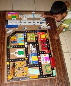 The #1 mom: Homemade toy: Car (and Airport) Play Mat dari karton bekas