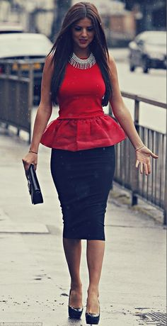 Very elegant business look, red peplum top, black pencil skirt