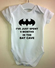 Batman Spent 9 Months in Bat Cave Baby Vest Body Grow Suit Boy Gift Idea Funny | eBay