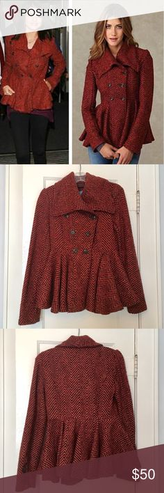 Free People Tweed Peplum Jacket Gorgeous double-breasted tweed jacket in red/orange/brown tones with a pretty peplum and funnel neck. Free People Jackets & Coats
