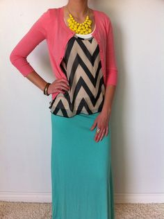 Follow the Trails Chevron Tank comes in Mint, Black or Orange! Looks perfect in this outfit!! http://www.sexymodest.com/collections/featured/products/follow-the-trails-chevron-tank #modest #chevrontank #maxi #under50dollars