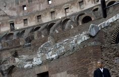 ROME, 2014: Obama tours the Colosseum during a visit that also included meetings with Pope Francis at the Vatican, Prime Minister Matteo Renzi and President Giorgio Napolitano. SAUL LOEB/AGENCE FRANCE-PRESSE VIA GETTY IMAGES