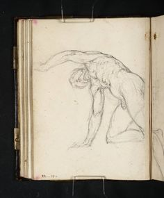 JMW Turner - Academy Study: Study of a kneeling male nude with raised left arm