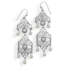 """Item# 65646 Sterling silver french wire earrings with vintage design drops. The hinged earrings have 3mm and 5mm imitation pearls. The earrings hang approximately 2.5"""". .925 Sterling Silver"""