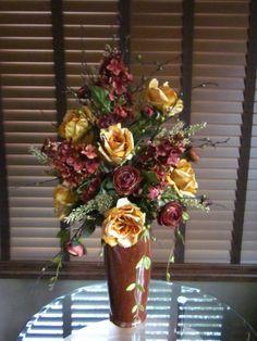 Large Tall Tuscan Silk Floral Arrangement Golden Yellow Roses Rust Hydrangeas | eBay