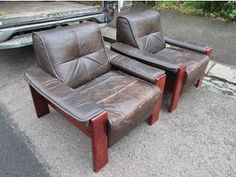 Vintage Pair Of Designer Danish Scandinavian Retro Leather Armchairs Barnet Picture 3 £200  from GUMTREE