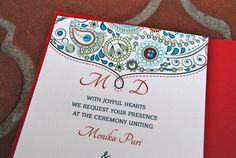 Red & Turquoise Indian Wedding Invitation Set by EmilysEventsEtc, $7.50