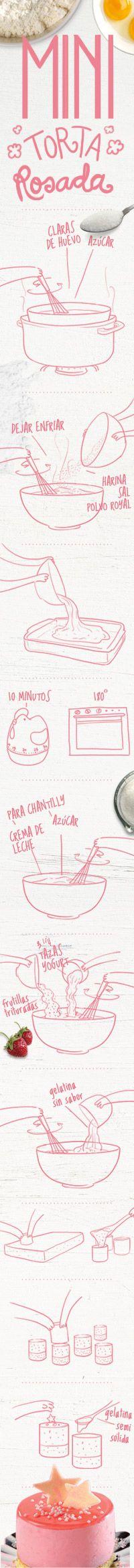 Ingredientes  Para la masa  4 huevos  ½ taza de azúcar  1 taza de harina  1 cdta. de Polvo Royal  Pizca de sal  Para el baño  2 ½ tazas de crema de leche  ½ taza de azúcar  5 frutillas grandes  3 ¾ tazas de yogurt con  pulpa de frutilla  14 g de gelatina Royal sin  sabor  Para decorar  1 gelatina Royal de  Frutilla  Chocolate cobertura  Blanco