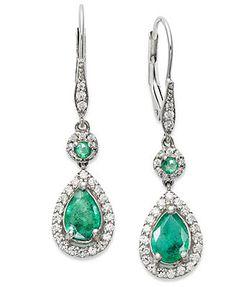 14k White Gold Earrings, Emerald (1-3/8 ct. t.w.) and Diamond (1/3 ct. t.w.) Pear Drop Earrings