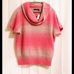 NWT The Limited Big Sleeve SOFTEST Sweater NWT The Limited Brand Cowl Neck Short Sleeve Sweater in beautiful, nearly sparkly pink & gray. Size large could fit a medium to xlarge size.  {Bundles: Buyer Pays IF any additional shipping expenses are incurred} The Limited Sweaters Cowl & Turtlenecks
