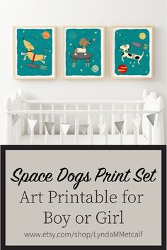 Space Dogs Set of Prints for Boy's Nursery Astronaut Dogs image 0 Nursery Prints, Nursery Decor, Wall Decor, Dinosaur Nursery, Baby Wall Art, Vinyl Crafts, Pet Gifts, Printable Wall Art, Bible Quotes