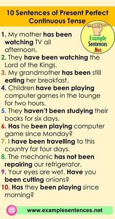 10 Sentences of Present Perfect Continuous Tense Examples - Example Sentences