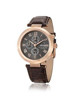 83% OFF Stuhrling Men's 594.04 Symphony Brown/Gray/Rose Stainless Steel Watch