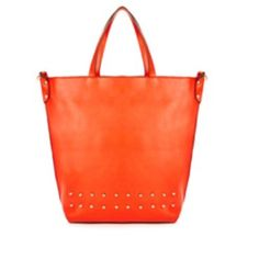 "Coming Soon!  Tangerine studded faux-leather tote. Studded faux leather tote bag with gold hardware. 7"" drop. Interior zip pocket and accessory pouch. Adjustable, removable cross body strap. 17""L x 15"" H x 5"" W. Full top zip closure. Bags Totes"