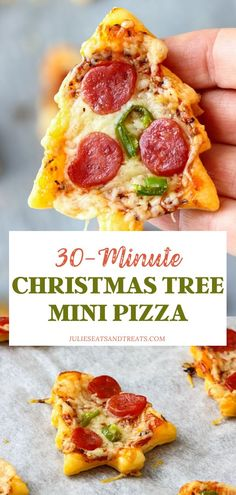 Christmas Tree Mini Pizza is a crowd-pleaser! These festive snacks are so easy and fun to make with your kids. Simply layer a puff pastry with your favorite toppings for the perfect small bite appetizer you can serve in 30 minutes. Save this Christmas in July idea! Easy Summer Meals, Dinner Recipes Easy Quick, Quick Easy Meals, Recipes Dinner, Summer Recipes, Holiday Appetizers, Holiday Desserts, Appetizer Recipes, Pizza Recipes