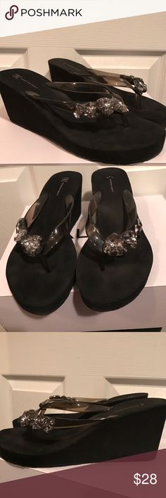 INC International thick sole wedge sandal INC International thick sole/wedge flip flop sandals. Wore twice and didn't really take any interest in them. Hoping someone might enjoy them. 👣👡 they have giant crystal rhinestones on them. They're super cute for summer when you want to dress up an outfit. INC International Concepts Shoes Sandals
