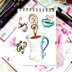 #365dayswatercolorproject Day 5 - Mug - #artoftheday #watercolorpaint #ssdwatercolorproject #ssdwatercolorproject2017 #art #art #artislife #watercolor #thehappynow #thatsdarling #pursuepretty #thebest #dedignyourlifeste #designer #design #handpainted #handpaint  Have a #creative #weekend ! #weekendfun