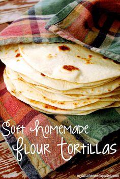 Homemade Flour Tortillas - My Kitchen Escapades