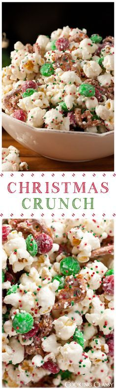 Christmas Crunch - this stuff is so easy to make and it's dangerously good!! My kids go crazy for this stuff, I go crazy for this stuff!