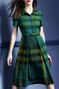 Vintage Shirt Collar Short Sleeve Plaid Women's Midi Dress