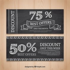 discount banner Discount banners in blackboard effect Free Vector Ticket Design, Word Free, Coupon Design, Blackboards, Lorem Ipsum, App Design, Chalkboard Quotes, Coupons, Vector Free