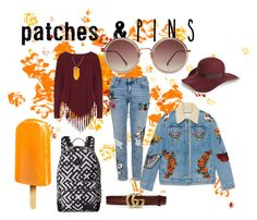 """""""PATCHES"""" by larisa-ivanov ❤ liked on Polyvore featuring Topshop, Boris, Gucci, Burton, Linda Farrow, Kenneth Jay Lane and patchesandpins"""