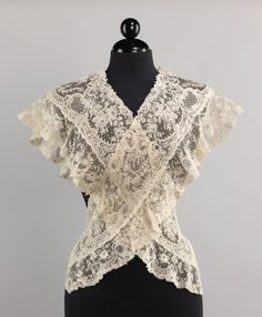 Fichu, Late 19th Cent., Belgian | (A fichu is a woman's kerchief or shawl, generally triangular in shape, worn draped over the shoulders or around the neck with the ends drawn together on the breast.)