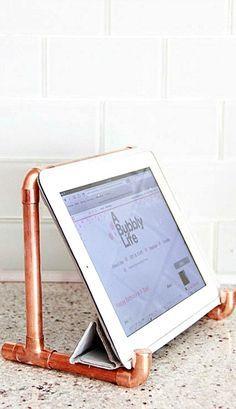 DIY Copper Pipe iPad Holder