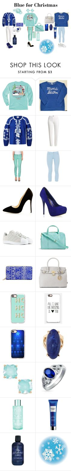 """""""Blue for Christmas"""" by ruthannvogel ❤ liked on Polyvore featuring Basler, Maison Scotch, Fabrizio Gianni, adidas, Vera Bradley, Versace 19•69, Casetify, Chicnova Fashion, Kate Spade and Bling Jewelry"""