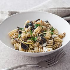 Fusilli with Roasted Eggplant and Goat Cheese | Perhaps add mushrooms glazed with balsamic?