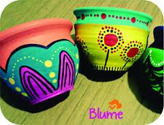 Resultado de imagen para macetas pintadas a mano utilisima Painted Clay Pots, Painted Flower Pots, Hand Painted Ceramics, Fun Crafts To Do, Rock Crafts, Pottery Painting, Diy Painting, Painted Pottery, Cement Pots
