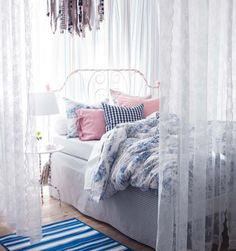 Wonderful Ikea Small Bedroom Ideas: Excellent Ikea Small Bedroom Ideas With Metal Classic Bed Plus Pilows Also Blanket And Small Round Glass Table Plus Lamps Also Vitrasse And Wooden Floor ~ novavn.com Bedroom Designs Inspiration