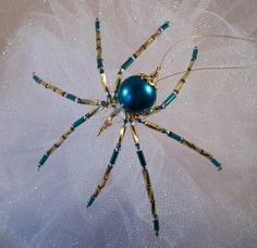 Teal Glass Beaded Christmas Spider Ornament by Thespiderlady, $7.00