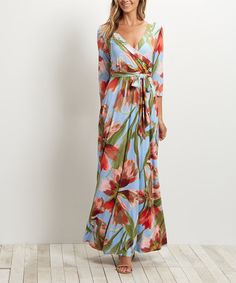 Another great find on #zulily! Coral Floral Tie-Front Wrap Maxi Dress #zulilyfinds