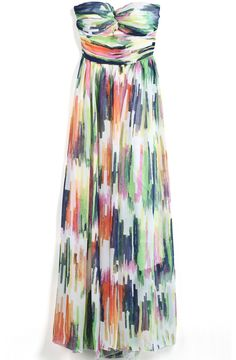 Multicolor Strapless Graffiti Print Chiffon Dress. I think I might like it as a short dress too