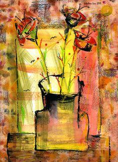 """Flowers"". 20x30 cm. Paper. Gouache. http://www.facebook.com/thecatalinalira"