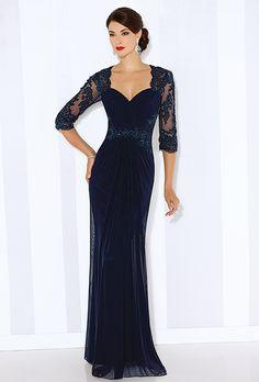 Cameron Blake. Stretch mesh slim A-line gown with hand-beaded lace illusion three-quarter length sleeves. Queen Anne neckline, ruched bodice and beaded lace illusion back. Beaded lace appliqu�s at natural waist. Center front draped skirt with back gathers.