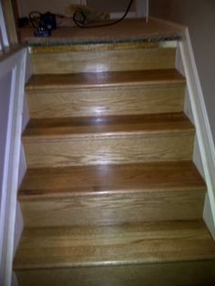 New treads and risers sand, stain and urethane by Home Based Carpet & Flooring. Job located in Cincinnati, Ohio 45230