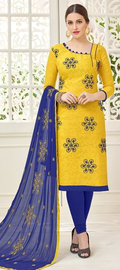 905463 Yellow  color family Party Wear Salwar Kameez in Jacquard fabric with Thread work .