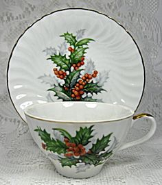 Norcrest Christmas Holly Cup And Saucer Vintage 1960s Porcelain. Click on the image for more information.