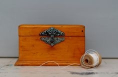Spool Box / Wooden Antique Clark's O.N.T. Spool by WildandDaisy