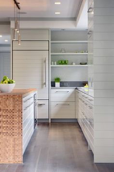 shiplap panel on fridge, cabs and continue to wall   Greenwich Green - contemporary - spaces - other metro - Workshop/apd