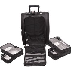 Black Soft-Sided Trolley Makeup Case. Find it at TheCosmeticSpace.com!  Rolling 14136da0a72ad
