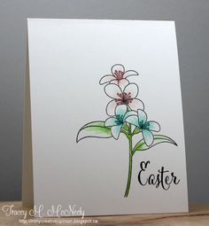 "Easter card ... one layer ... clean and simple lily image ... ""Easter"" in large fancy font ..."