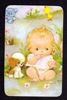 Vintage Swap Card Cute Baby Girl IN Garden Blank Back | eBay