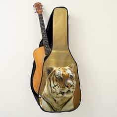 Blue White Tiger Guitar Case - cat cats kitten kitty pet love pussy